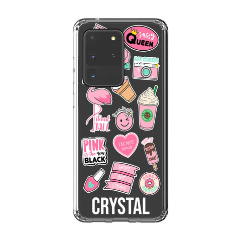 Personalised Pink Sticker Samsung Galaxy S20 Ultra Clear Case