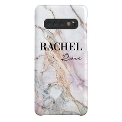 Personalised White Galaxy Marble Name Samsung Galaxy S10 Case