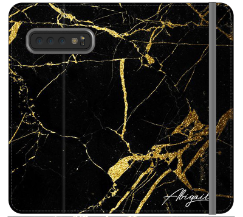 Personalised Black x Gold Marble Initials Samsung Galaxy S10 Plus Case