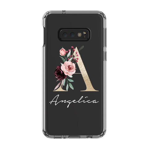 Personalised Floral Initial Name Samsung Galaxy S10e Clear Case