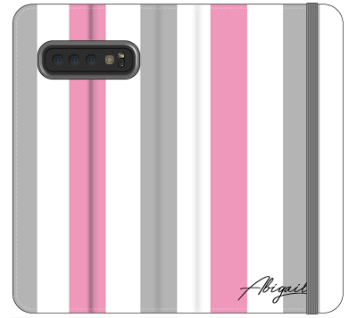 Personalised Pink x Grey Stripe Samsung Galaxy S10 Plus Case