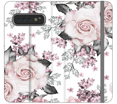 Personalised Pink Floral Rose Initials Samsung Galaxy S10 Plus Case