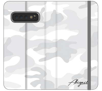 Personalised White Camouflage Initials Samsung Galaxy S10 Case