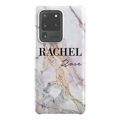 Personalised White Galaxy Marble Name Samsung Galaxy S20 Ultra Case