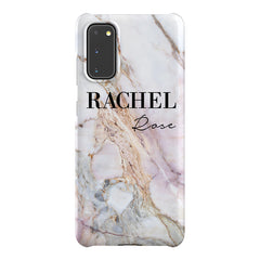 Personalised White Galaxy Marble Name Samsung Galaxy S20 Case