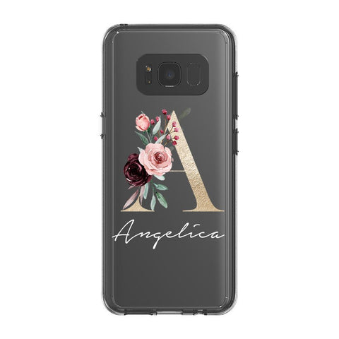 Personalised Floral Initial Name Samsung Galaxy S8 Clear Case