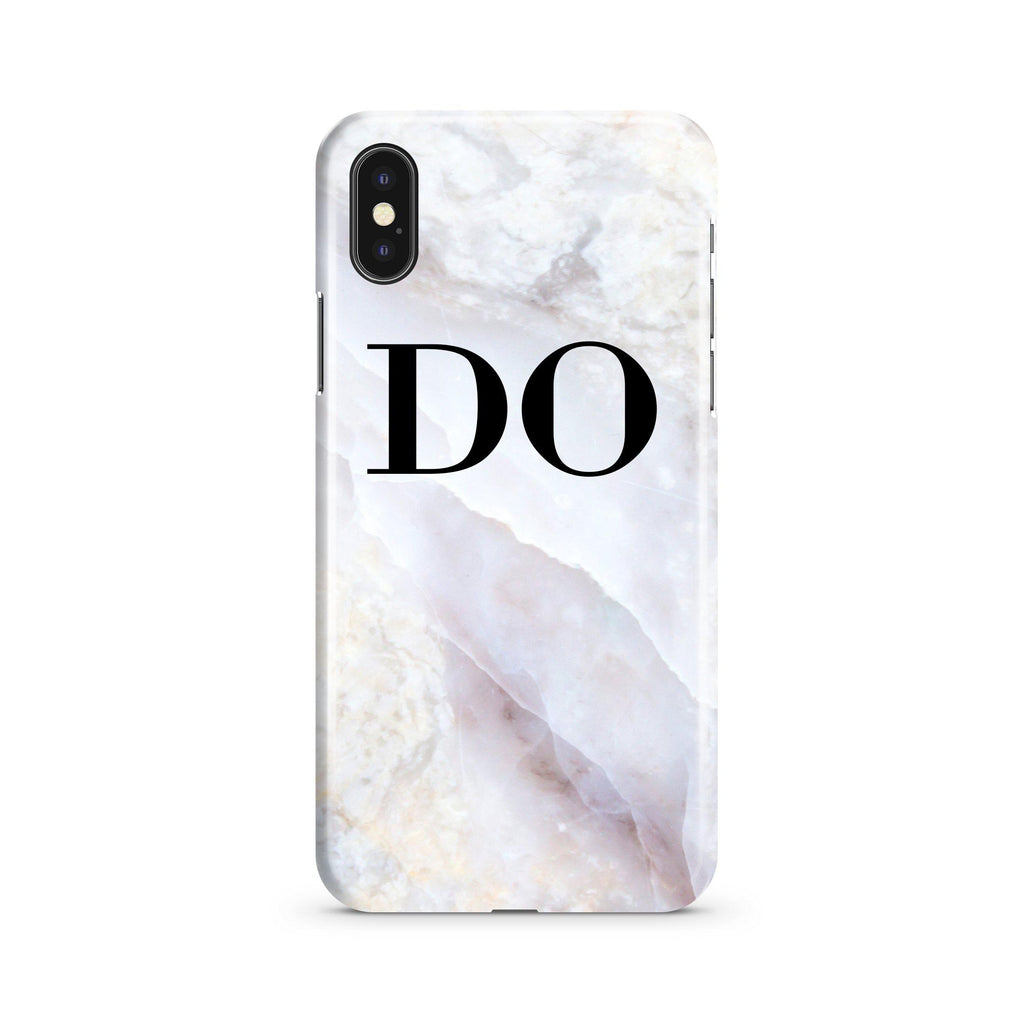 Personalised Stone Marble Initials iPhone XS Case