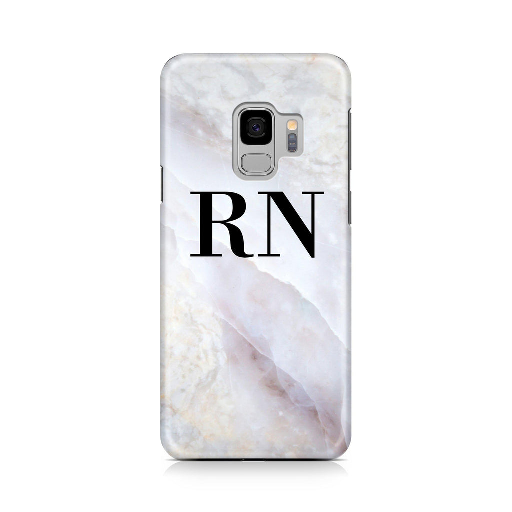 Personalised Stone Marble Initials Samsung Galaxy S9 Case