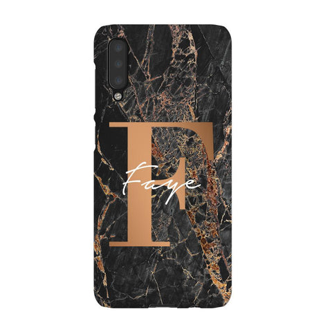 Personalised Slate Marble Bronze Initial Samsung Galaxy A50 Case