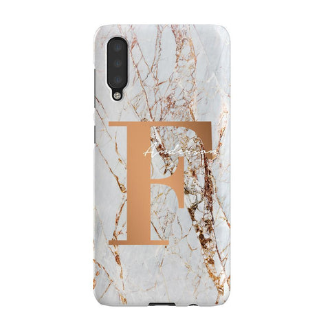 Personalised Cracked Marble Bronze Initials Samsung Galaxy A50 Case