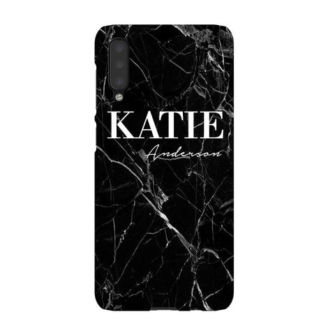 Personalised Black Marble Name Samsung Galaxy A50 Case