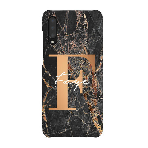 Personalised Slate Marble Bronze Initial Samsung Galaxy A70 Case
