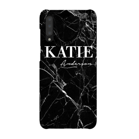 Personalised Black Marble Name Samsung Galaxy A70 Case