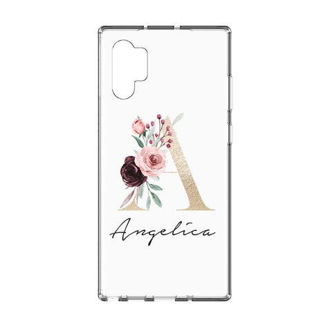 Personalised Floral Initial Name Samsung Galaxy Note 10 Plus Clear Case
