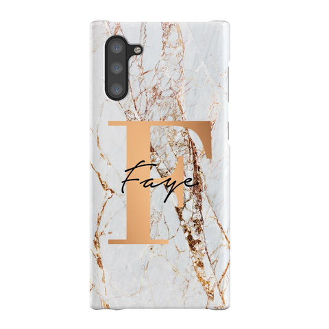 Personalised Cracked Marble Bronze Initials Samsung Galaxy Note 10 Case