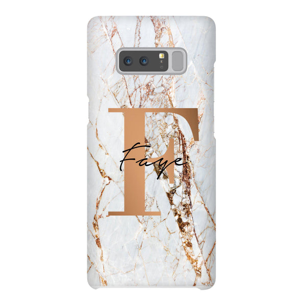 Personalised Cracked Marble Bronze Initials Samsung Galaxy Note 8 Case