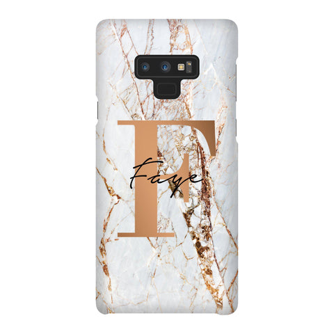 Personalised Cracked Marble Bronze Initials Samsung Galaxy Note 9 Case