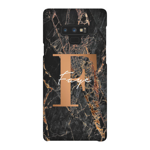 Personalised Slate Marble Bronze Initial Samsung Galaxy Note 9 Case