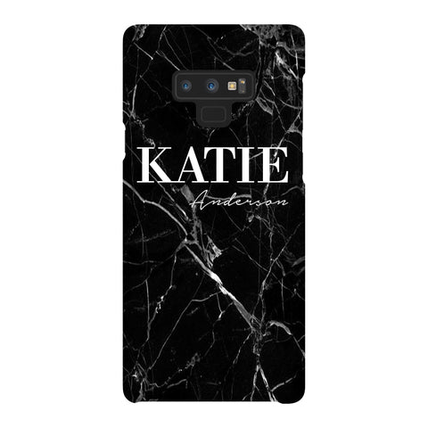 Personalised Black Marble Name Samsung Galaxy Note 9 Case