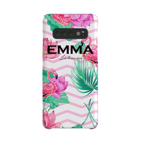 Personalised Flamingo Name Samsung Galaxy S10 Case