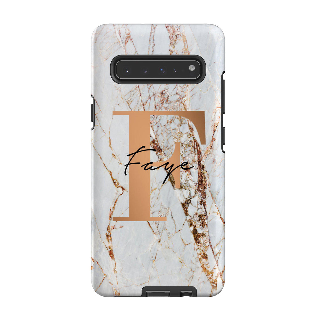 Personalised Cracked Marble Bronze Initials Samsung Galaxy S10 5G Case