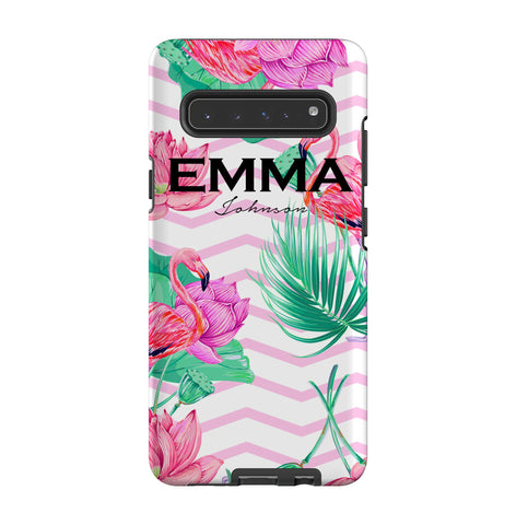 Personalised Flamingo Name Samsung Galaxy S10 5G Case