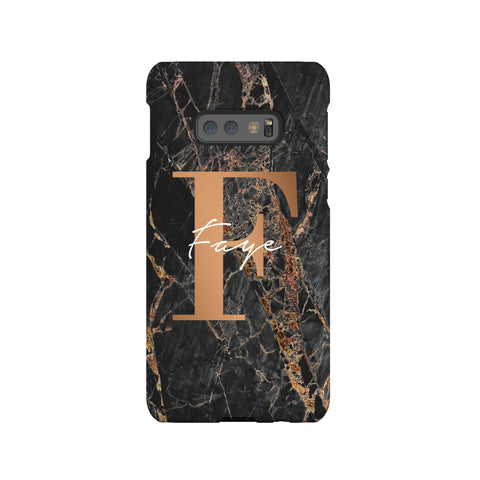 Personalised Slate Marble Bronze Initial Samsung Galaxy S10e Case