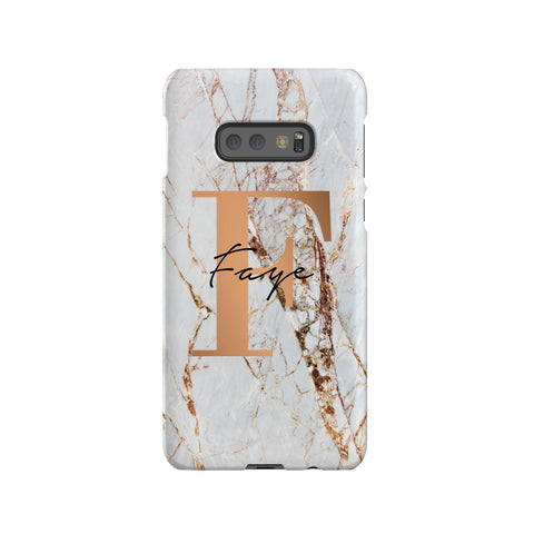 Personalised Cracked Marble Bronze Initials Samsung Galaxy S10e Case