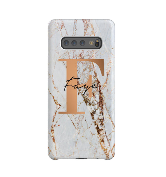 Personalised Cracked Marble Bronze Initials Samsung Galaxy Note 10+ Case