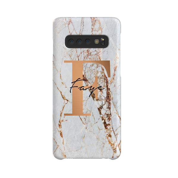 Personalised Cracked Marble Bronze Initials Samsung Galaxy S10 Case