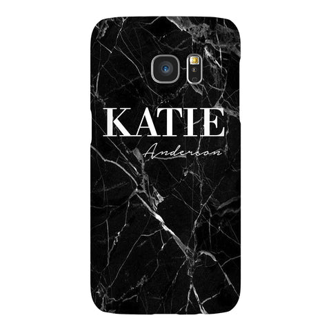 Personalised Black Marble Name Samsung Galaxy S7 Edge Case