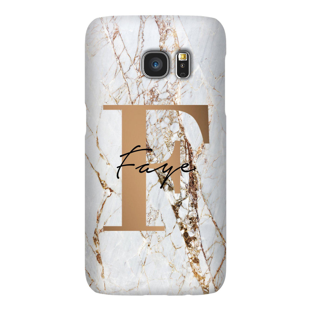 Personalised Cracked Marble Bronze Initials Samsung Galaxy S7 Edge Case