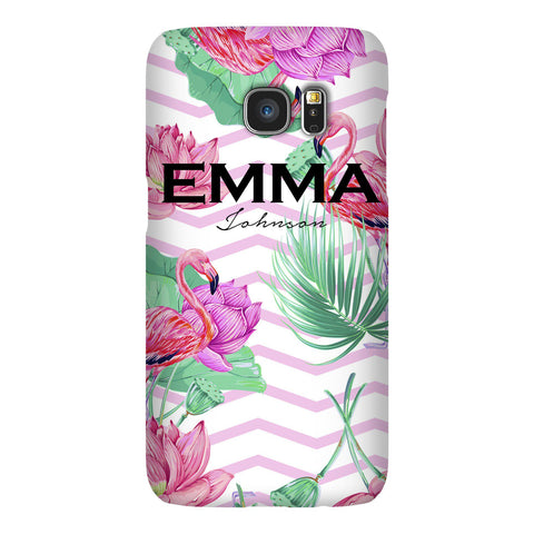 Personalised Flamingo Name Samsung Galaxy S7 Edge Case