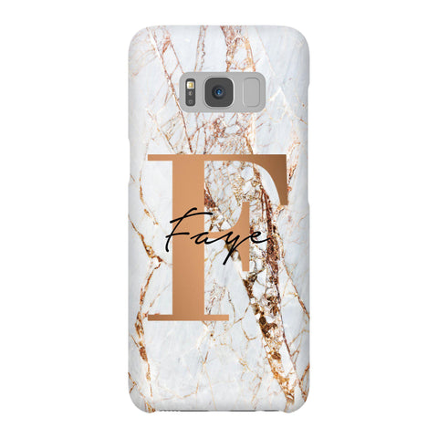 Personalised Cracked Marble Bronze Initials Samsung Galaxy S8 Case
