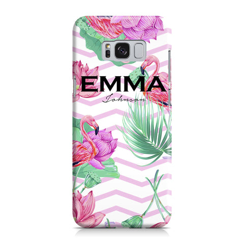 Personalised Flamingo Name Samsung Galaxy S8 Case
