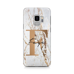 Personalised Cracked Marble Bronze Initials Samsung Galaxy S9 Case