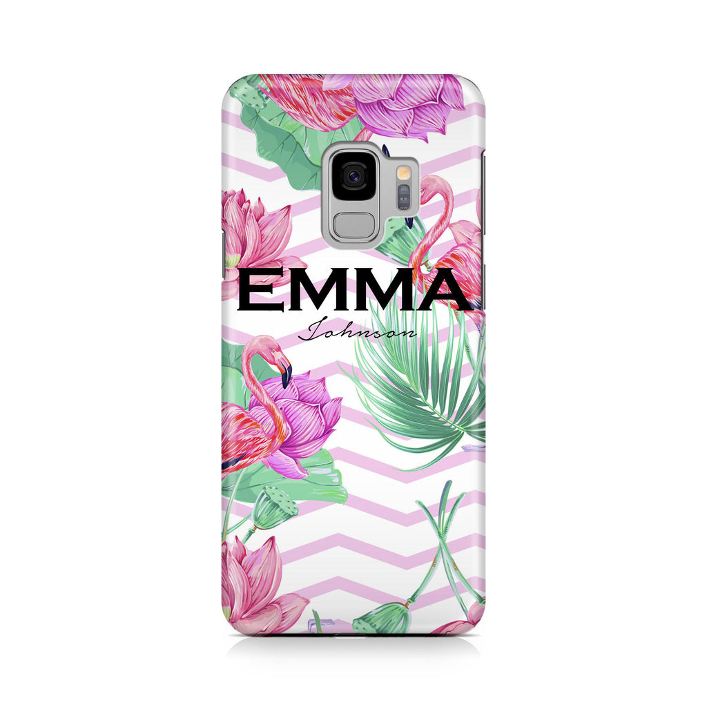 Personalised Flamingo Name Samsung Galaxy S9 Case