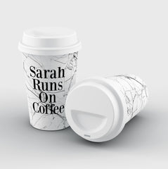 Personalised White Marble Runs On Coffee Reusable Coffee Cup