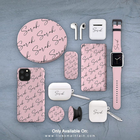 Personalised Bloom Script Name All Over Phone Case Accessories Package