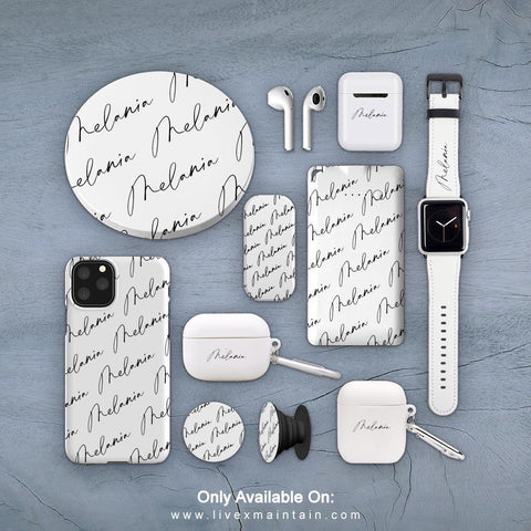 Personalised White Script Name All Over Phone Case Accessories Package