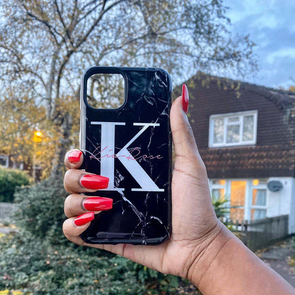 Personalised Black Marble Name Initials iPhone XR Case