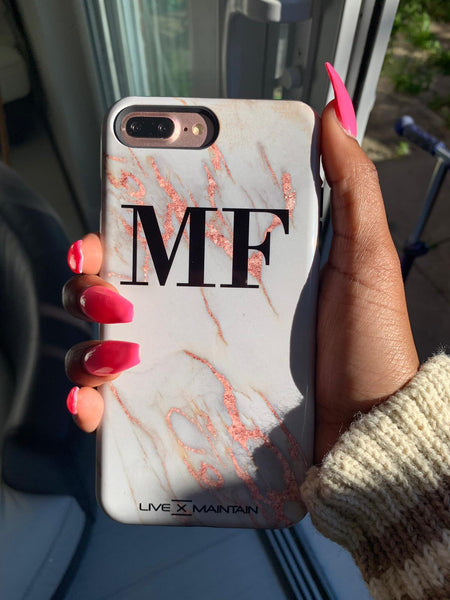 Personalised Rose Gold Marble initials iPhone X Case