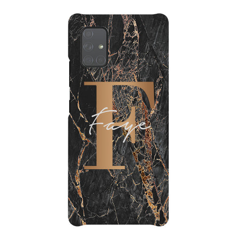 Personalised Slate Marble Bronze Initial Samsung Galaxy A51 5G Case