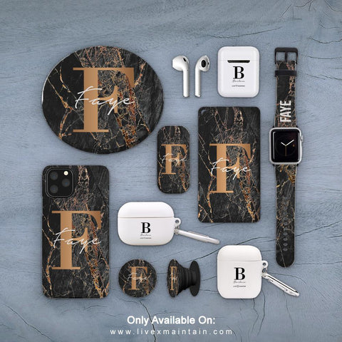 Personalised Slate Marble Bronze Initial Phone Case Accessories Package