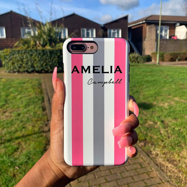 Personalised Pink x Grey Stripe iPhone X Case