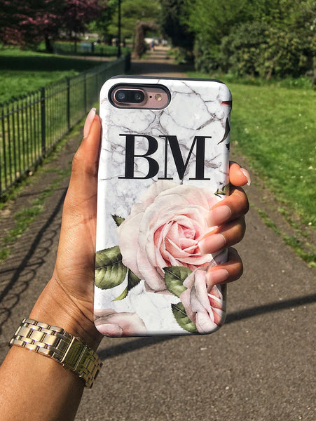Personalised White Floral Marble Initials Phone Case