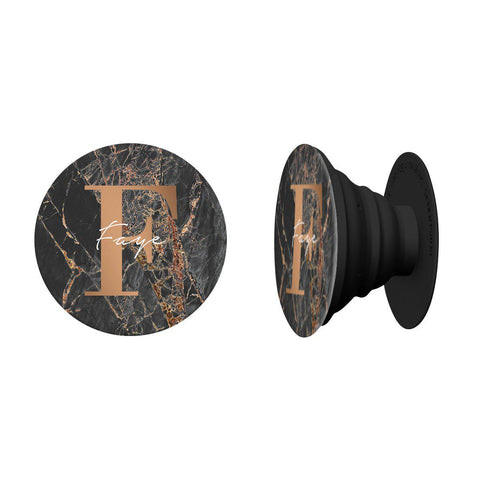 Personalised Slate Marble Bronze Initial Phone Grip