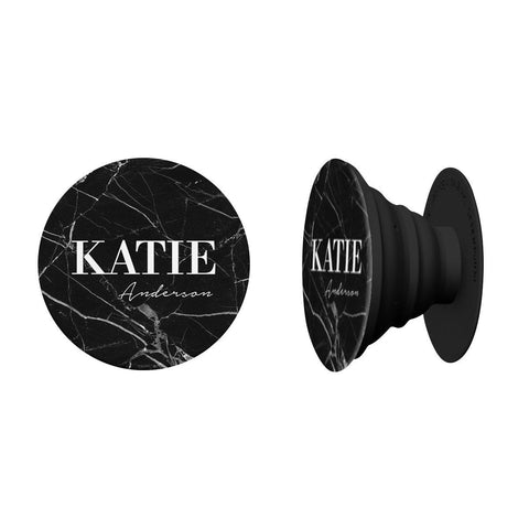 Personalised Black Marble Name Phone Grip