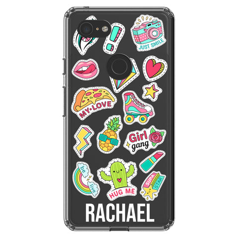 Personalised Sticker Name Google Pixel 3 XL Clear Case