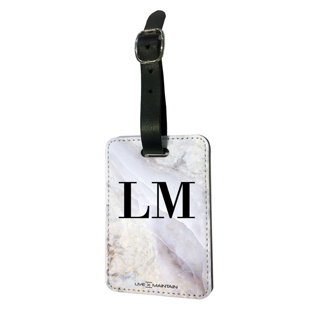 Personalised Stone Marble Marble Initials Luggage Tag